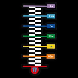 Thermoplast markering - Verspringen - 3200x850mm Wegmarkering, thermoplast, premark, schoolterrein, schoolplein, playmark, topmark, speelterrein, speelzaal, hinkelpad, hinkelbaan, spel, spelen