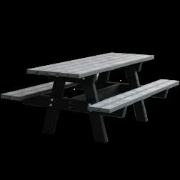Picknicktafel - grijs / zwart - Oslo govaplast, picknick, bank, straatmeubilair, gerecycled, gerecycleerd, kunststof, plastic, oslo, picknicktafel, duurzaam, stevig