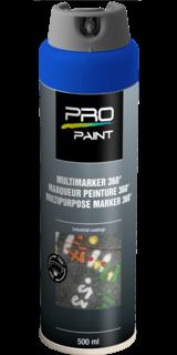 Multimarker fluorescerend blauw - 360 graden spuitkop - 500 ml markeringsverf, markeerspray, multimarker, 360, graden, fluorescerend, geel, fluor, spuitbus, spray
