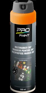 Multimarker fluorescerend oranje - 360 graden spuitkop - 500 ml markeringsverf, markeerspray, multimarker, 360, graden, fluorescerend, geel, fluor, spuitbus, spray