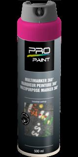Multimarker fluorescerend roze - 360 graden spuitkop - 500 ml markeringsverf, markeerspray, multimarker, 360, graden, fluorescerend, geel, fluor, spuitbus, spray