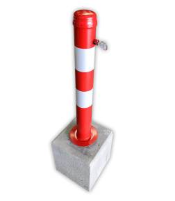Afzetpaal uitneembaar 750mm met betonvoet 295x295x350mm afzetpaal, parkeerpaal, model 90, betonvoet, verwijderbaar, uitneembaar