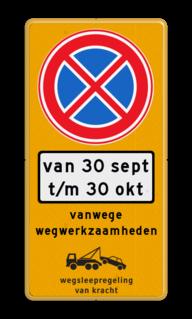 Parkeermaatregelbord Tijdelijk parkeerverbod. In straten zonder extra parkeervoorzieningen kan een RVV E1 of bij voorkeur E2 worden toegepast op een gele ondergrond met een wit onderbord. Bij werkzaamheden of gedurende een evenement kan het zijn dat er een parkeerhaven, parkeerstrook, parkeervak vrij moet worden gehouden. Juridisch kan dan het parkeren met een E1 of E2 RVV bord niet worden verboden. Door Ministerie van I&M en het O.M. is voorgeschreven dat het verbod om te parkeren dan middels een E4 met onderbord geregeld dient te worden. In verband met een juridisch juiste uitvoering van de wegsleepregeling moet worden aangegeven waarom er wordt weggesleept. Vanwege wegwerkzaamheden, naam evenement of politiemaatregelen. Parkeermaatregelbord (officieel) + datum en tijden Parkeerverbod, evenementen, evenement, tijdelijk, parkeren, verboden, wegwerkzaamheden, werk, in, uitvoering