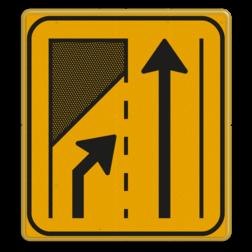 Omleidingsbord WIU T32-2r geel/zwart Tekstbord, WIU bord, tijdelijke verkeersmaatregelen, werk langs de weg, omleidingsborden, tijdelijk bord, werk in uitvoering, 3 regelig bord