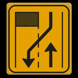 Omleidingsbord WIU T31-2r geel/zwart Tekstbord, WIU bord, tijdelijke verkeersmaatregelen, werk langs de weg, omleidingsborden, tijdelijk bord, werk in uitvoering, 3 regelig bord