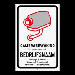 Camerabord CAMERABEWAKING wet van 21 maart 2017 (België model verplicht) Camerabord België - vlakke uitvoering - wet van 21 maart 2017
