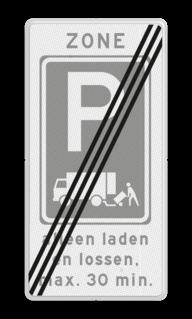 Zonebord Einde zone laden en lossen met toelichting. Gelegenheid voor het onmiddellijk laden en lossen van goederen Zonebord laden en lossen - RVV E07 einde zone met ondertekst E07, E7, laden en lossen, vrachtauto, zone, einde,