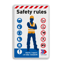 Veiligheidsbord - SAFETY RULES in huisstijl safety, rules, sign,
