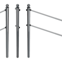 Geleidehek TS60 staal - palen met aluminium bolkop - RAL 7016 of gegalvaniseerd beschermhek, geleidehek