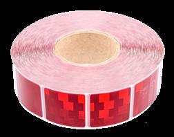 Contourmarkering rood - 50x50mm stickers - op rol 12,5 of 50 meter Contour, Contourmarkering, Reflecterend, rol, Conspicuity, Tape, voertuigmarkering, geel