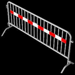 Dranghek staal 18kg - 250cm - 18 spijlen - rood wit reflecterende strip afzetmateriaal, tijdelijke, afzetting, dranghek, drang, afzethek, reflecterend, rood, wit