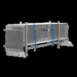 15 stuks dranghek staal 250cm (18kg) - 18 spijlen - inclusief bok en spanbanden afzetmateriaal, tijdelijke, afzetting, dranghek, drang, afzethek, transportbok