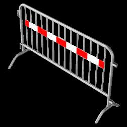 Dranghek staal 15,5kg - 200cm - 14 spijlen - rood wit reflecterende strip afzetmateriaal, tijdelijke, afzetting, dranghek, drang, afzethek