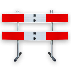 Afzethek 1500mm KLAPBAAR EASY klasse 3 rood/wit geledebaak, baken, hek, afzethek, planken, afzetmateriaal