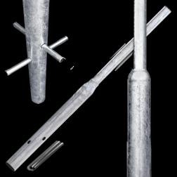 Flessenhalspaal - 1400 mm boven de grond buispaal, flespaal, verkeersbordpaal, paal, paal met verjonging, flessenhalspaal