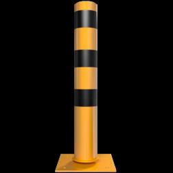 Rampaal Kantelbaar Ø152 met voetplaat, geel/zwart Stalen paal, anti kraak, aanrijbeveiliging, Rampaal, Afzetpaal, Ramkraak, Kantelbaar, absorberend, tiltbaar, Magazijn, Inrichting, Juwelier, Bank, Ramzuil, veilig, ram, Menhir, Beveiliging