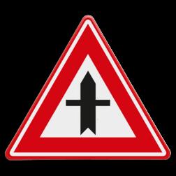 Verkeersbord Je nadert een voorrangskruispunt, je hebt voorrang Verkeersbord RVV B03 - Voorrangskruispunt, je hebt voorrang B03 voorrangskruising, kruising, driehoekbord, pas op, let op, B3, voorrang, kruispunt, voorrangskruispunt,