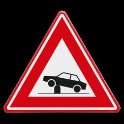 Verkeersbord Waarschuwing voor elektrische in- en uitschuifbare paal in de rijbaan (poller) waarmee toegankelijkheid van straten en gebieden kan worden geregeld Verkeersbord RVV J39 - Vooraanduiding verkeerspaal J39 pollers, rampaal, hydraulische, obstakel, elektrische paal