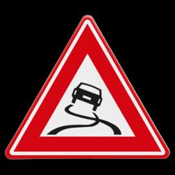 Verkeersbord Slipgevaar (glad wegdek) Verkeersbord RVV J20 - Vooraanduiding slipgevaar J20 let op, pas op, gladde weg, J20, glad wegdek, slipgevaar, waarschuwingsbord