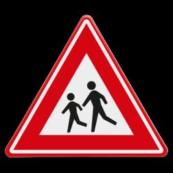 Verkeersbord Overstekende / spelende kinderen Verkeersbord RVV J21 - Vooraanduiding overstekende kinderen J21 let op, pas op, speldende kinderen, J21, overstekende kinderen,