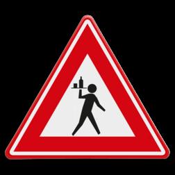 Verkeersbord Overstekende obers Verkeersbord - waarschuwing voor overstekende ober cadeau, kado, ober, kelner, terras