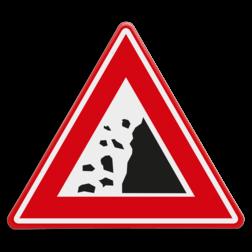 Verkeersbord Pas op vallend gesteente Verkeersbord - waarschuwing vallend gesteente vallende, stenen, rotsblokken,