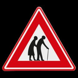 Verkeersbord Overstekende ouderen Verkeersbord - waarschuwing voor overstekende ouderen spelende ouderen, J21, elderly people, bejaarden, oudjes, echtpaar, bejaardencentrum