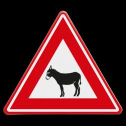 Verkeersbord Overstekende ezel Verkeersbord - waarschuwing overstekende ezels dieren, ezel, donkey