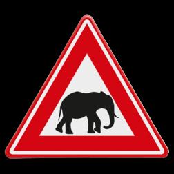 Verkeersbord Overstekende olifanten Verkeersbord - waarschuwing overstekende olifanten dieren, dierentuin