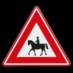 Verkeersbord Vooraanduiding oversteken ruiters Verkeersbord - waarschuwing overstekende ruiters