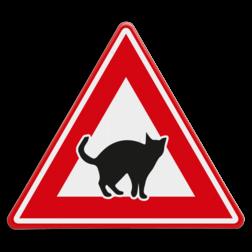 Verkeersbord Overstekende poezen/katten Verkeersbord - waarschuwing overstekende katten poes, kat, dieren