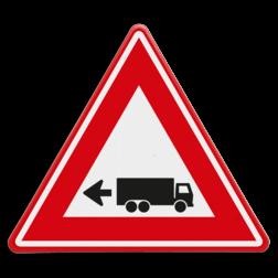 Verkeersbord links achteruitrijdende vrachtwagen Verkeersbord - waarschuwing links achteruitrijdende vrachtwagen Vrachtwagen, oppassen, achteruit