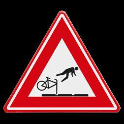 Verkeersbord tramrails - valgevaar fietsers cadeau, kado, vallende fietser, tram, tramrail,