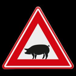 Verkeersbord Overstekende varken Verkeersbord - waarschuwing overstekende varkens dieren, zwijnen