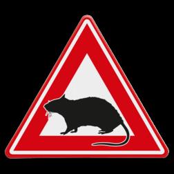 Verkeersbord Pas op voor ratten Verkeersbord - waarschuwing voor ratten dieren, muizen, ongedierte