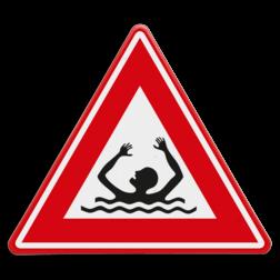 Verkeersbord Waarschuwing drijfzand en/of verdrinkingsgevaar Verkeersbord - waarschuwing drenkeling