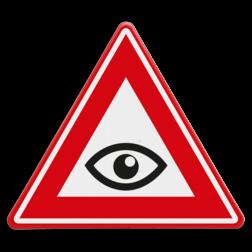 Verkeersbord Waarschuwing gezien worden Verkeersbord - waarschuwing zorg dat je gezien wordt