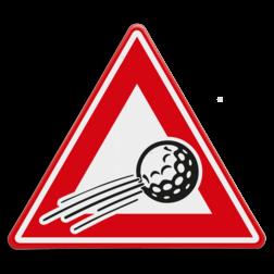 Verkeersbord Overvliegende golfbal Verkeersbord overvliegende golfbal cadeau, kado, Pitt