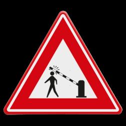 Verkeersbord waarschuwing voetgangers voor dalende slagboom Verkeersbord  - waarschuwing voetgangers voor dalende slagboom