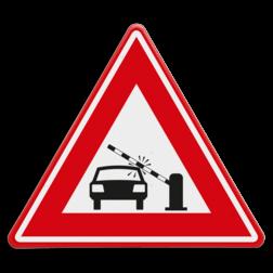 Verkeersbord waarschuwing auto's voor dalende slagboom Verkeersbord  - waarschuwing auto's voor dalende slagboom