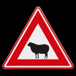 Verkeersbord Overstekend schaap Verkeersbord - waarschuwing overstekend schaap dieren,