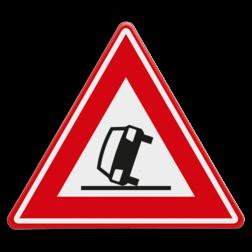Verkeersbord Vooraanduiding ongeval Verkeersbord RVV J34 - Vooraanduiding ongeval J34 gekantelde, voertuig, auto