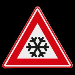 Verkeersbord Glad wegdek als gevolg van ijzel of sneeuw Verkeersbord RVV J36 - Vooraanduiding ijzel of sneeuw J36 ijsvorming, ijzel, sneeuw, winters, winterse