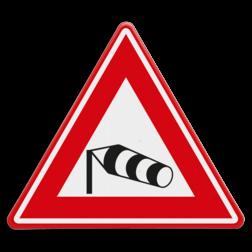 Verkeersbord Gevaarlijke zijwind Verkeersbord RVV J31 - Vooraanduiding zijwind J31 windzak, storm,
