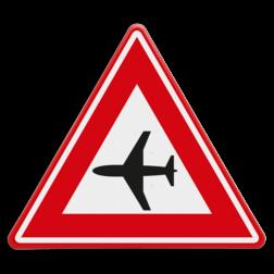 Verkeersbord Waarschuwing Laagvliegende vliegtuigen Verkeersbord RVV J30 - Vooraanduiding laagvliegende vliegtuigen J30 vliegveld, luchthaven,