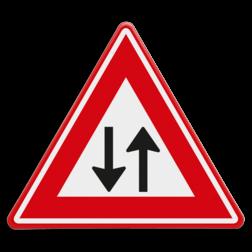 Verkeersbord Let op tegenliggers Verkeersbord RVV J29 - Vooraanduiding tegenliggers J29