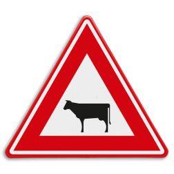 Verkeersbord Oversteekplaats vee Verkeersbord RVV J28 - Vooraanduiding oversteken vee J28 dieren, oversteekplaats,