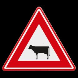 Verkeersbord Oversteekplaats vee Verkeersbord RVV J28 - Vooraanduiding overstekend vee J28 dieren, oversteekplaats,