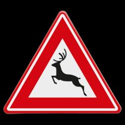 Verkeersbord Kans op overstekend groot wild Verkeersbord RVV J27 - Vooraanduiding groot wild J27 springend hert,