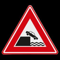 Verkeersbord Gevaarlijke kade of rivieroever Verkeersbord RVV J26 - Vooraanduiding kade of rivieroever J26 waterkant,